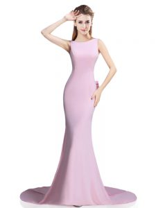 Sleeveless Beading and Bowknot Clasp Handle Mother Of The Bride Dress with Pink Brush Train
