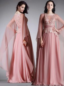 Amazing Scoop Floor Length Empire 3 4 Length Sleeve Pink Mother Of The Bride Dress Zipper