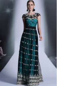 Scoop Teal Empire Appliques and Pleated Mother Of The Bride Dress Side Zipper Organza Cap Sleeves Floor Length