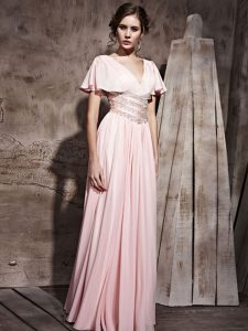 V-neck Short Sleeves Mother Of The Bride Dress Floor Length Beading and Ruching Pink Chiffon