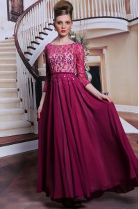 Romantic Lace and Sequins Mother Of The Bride Dress Fuchsia Zipper 3 4 Length Sleeve Floor Length