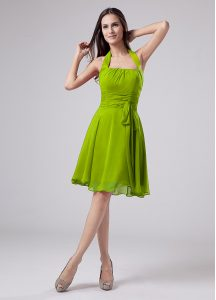 Green Empire Ruching Mother of Groom Dress Zipper Chiffon Sleeveless Knee Length
