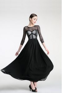 Top Selling Scoop 3 4 Length Sleeve Ankle Length Lace Zipper Mother of Groom Dress with Black