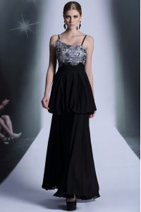 Trendy Black Empire Embroidery and Sequins and Hand Made Flower Mother Of The Bride Dress Side Zipper Chiffon Sleeveless Floor Length