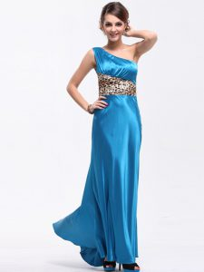 Artistic One Shoulder Baby Blue Column/Sheath Ruching Mother Of The Bride Dress Side Zipper Elastic Woven Satin Sleeveless Floor Length