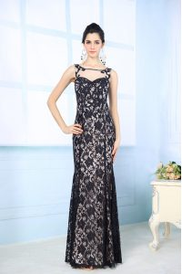 Scoop Floor Length Black Mother Of The Bride Dress Chiffon Sleeveless Lace