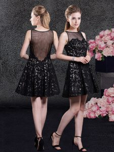 Romantic Black Lace Side Zipper Mother Of The Bride Dress Sleeveless Mini Length Lace