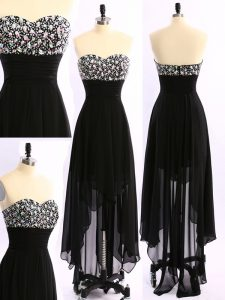 Shining Black Empire Sweetheart Sleeveless Chiffon Asymmetrical Zipper Beading Mother Dresses