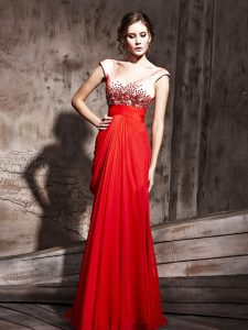 Pretty Coral Red Chiffon Backless V-neck Cap Sleeves Floor Length Mother Of The Bride Dress Beading