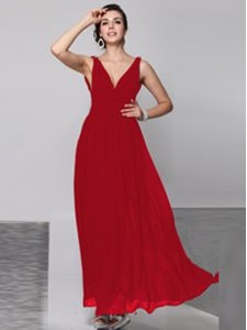 Clearance Wine Red Column/Sheath V-neck Sleeveless Chiffon Floor Length Backless Beading Mother of the Bride Dress