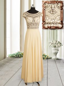 Champagne Empire Chiffon Scoop Cap Sleeves Beading Floor Length Zipper Mother Of The Bride Dress
