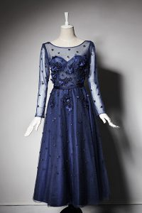 Scoop Navy Blue Zipper Mother Of The Bride Dress Beading and Hand Made Flower Long Sleeves Tea Length