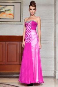 Fuchsia Column/Sheath Sweetheart Sleeveless Chiffon Ankle Length Side Zipper Beading and Ruching Mother Of The Bride Dress