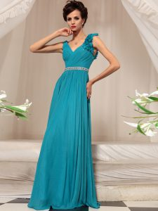 V-neck Sleeveless Side Zipper Mother Of The Bride Dress Teal Chiffon