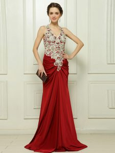 With Train Red Mother Of The Bride Dress Elastic Woven Satin Brush Train Sleeveless Beading and Appliques