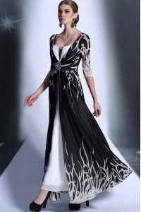 Charming Black Square Zipper Pattern Mother Of The Bride Dress Half Sleeves