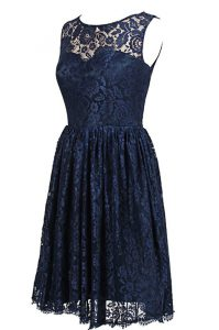 Navy Blue A-line Scoop Sleeveless Lace Knee Length Zipper Hand Made Flower Mother of the Bride Dress