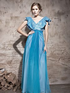 Spectacular Teal Mother of the Bride Dress Prom and Party with Sequins V-neck Cap Sleeves Zipper