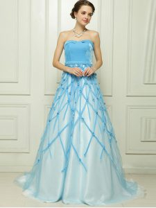 A-line Mother of Groom Dress Baby Blue Strapless Tulle Sleeveless Floor Length Zipper