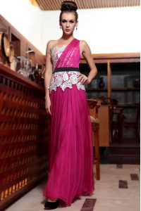 Fabulous Fuchsia Side Zipper One Shoulder Beading and Appliques and Ruching Mother Of The Bride Dress Chiffon Sleeveless