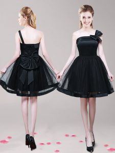 One Shoulder Black Zipper Mother Of The Bride Dress Bowknot Sleeveless Mini Length