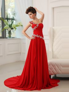Best Selling One Shoulder Sleeveless Sweep Train Zipper With Train Beading and Ruching Mother Of The Bride Dress