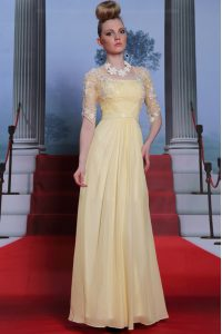 Light Yellow Spaghetti Straps Neckline Lace and Ruching Mother Of The Bride Dress Half Sleeves Zipper