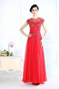 Scoop Coral Red Sleeveless Beading Floor Length Mother Of The Bride Dress