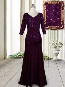 Stylish Dark Purple Zipper Beading and Lace and Hand Made Flower Mother Of The Bride Dress Half Sleeves