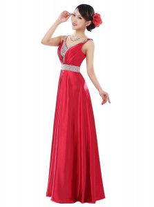 Clearance Coral Red Sleeveless Elastic Woven Satin Zipper Mother of the Bride Dress for Prom and Party