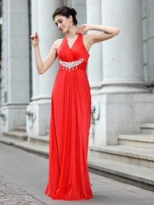 Elegant V-neck Sleeveless Zipper Mother Of The Bride Dress Coral Red Chiffon