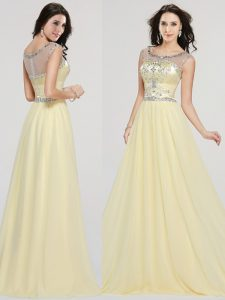 Modern Scoop Floor Length Light Yellow Mother Of The Bride Dress Chiffon Sleeveless Beading