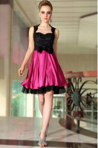 Knee Length Pink And Black Mother Of The Bride Dress Satin Sleeveless Beading
