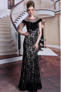 Artistic Scoop Black Column/Sheath Beading and Lace and Hand Made Flower Mother Of The Bride Dress Zipper Lace Cap Sleeves Floor Length
