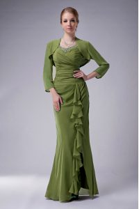 Discount Olive Green Mermaid Beading Mother Of The Bride Dress Zipper Chiffon Sleeveless Floor Length