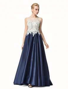 Simple Brush Train A-line Mother Of The Bride Dress Navy Blue Satin Sleeveless Side Zipper