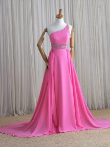 Rose Pink Column/Sheath One Shoulder Sleeveless Chiffon Brush Train Lace Up Beading Mother Of The Bride Dress
