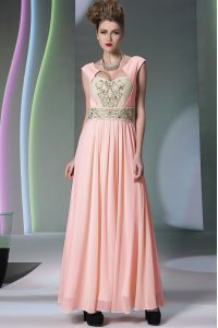 Pink Chiffon Side Zipper Mother Of The Bride Dress Cap Sleeves Ankle Length Embroidery and Ruching
