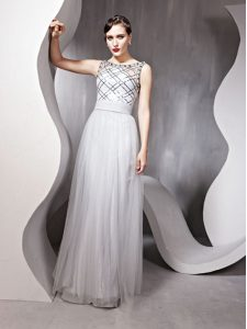 Nice Scoop Sleeveless Zipper Mother Of The Bride Dress Silver Chiffon