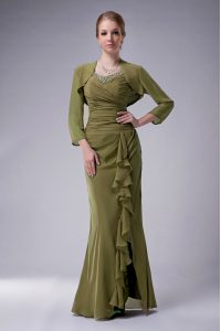 Captivating Olive Green Chiffon Zipper Straps Sleeveless Floor Length Mother Of The Bride Dress Beading