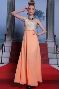 Pretty Scalloped Sleeveless Side Zipper Mother Of The Bride Dress Orange Chiffon