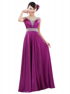 Fuchsia Sleeveless Floor Length Beading Zipper Mother of Groom Dress
