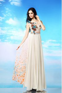 Sumptuous White Side Zipper Scoop Appliques and Ruching and Pattern Mother Of The Bride Dress Chiffon Sleeveless