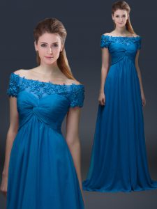 Stylish Royal Blue Off The Shoulder Neckline Appliques Mother Of The Bride Dress Short Sleeves Lace Up