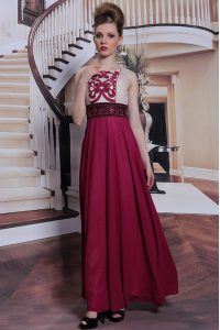 Burgundy Column/Sheath Chiffon Bateau Sleeveless Beading and Appliques Floor Length Side Zipper Mother of Bride Dresses