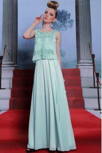 Clearance Scalloped Apple Green Column/Sheath Embroidery Mother Of The Bride Dress Side Zipper Chiffon Sleeveless Floor Length