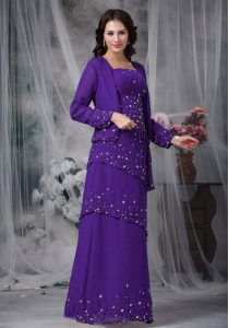 Beauteous Floor Length Eggplant Purple Mother Of The Bride Dress Chiffon Sleeveless Beading