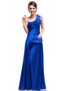 Elegant One Shoulder Royal Blue Criss Cross Mother Of The Bride Dress Ruching Sleeveless Floor Length