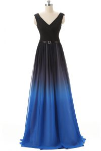 Blue And Black Lace Up V-neck Beading Mother Of The Bride Dress Chiffon Sleeveless Brush Train