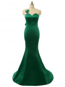 Mermaid Green Zipper Scoop Beading and Bowknot and Hand Made Flower Mother Of The Bride Dress Satin Sleeveless Sweep Train